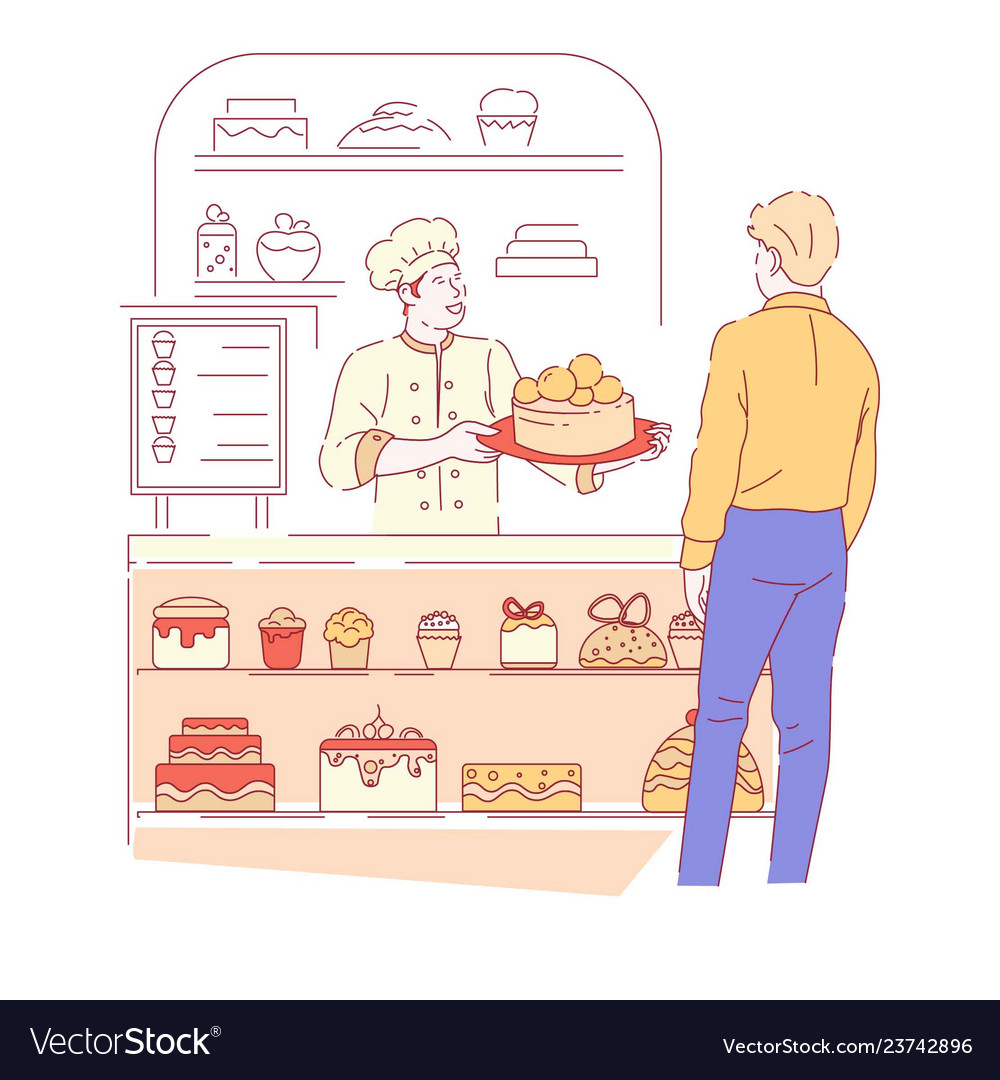 Bakery shop and baker with customer cakes and