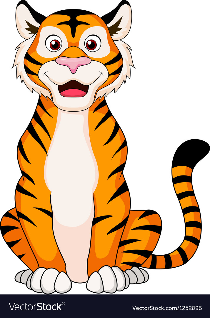 cute tiger cartoon sitting royalty free vector image rh vectorstock com tiger cartoon pic tiger cartoon images free
