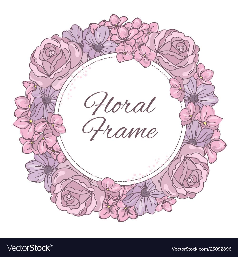 Floral frame wedding wreath