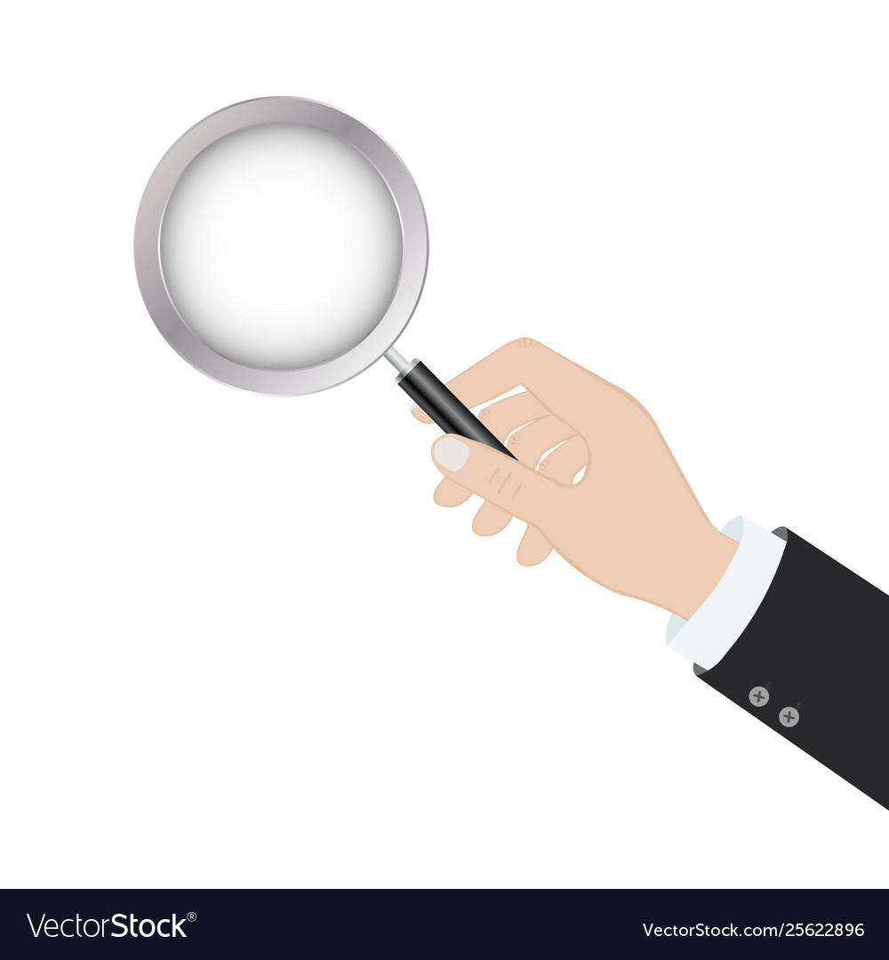 Hand holding a magnifying glass in flat design on