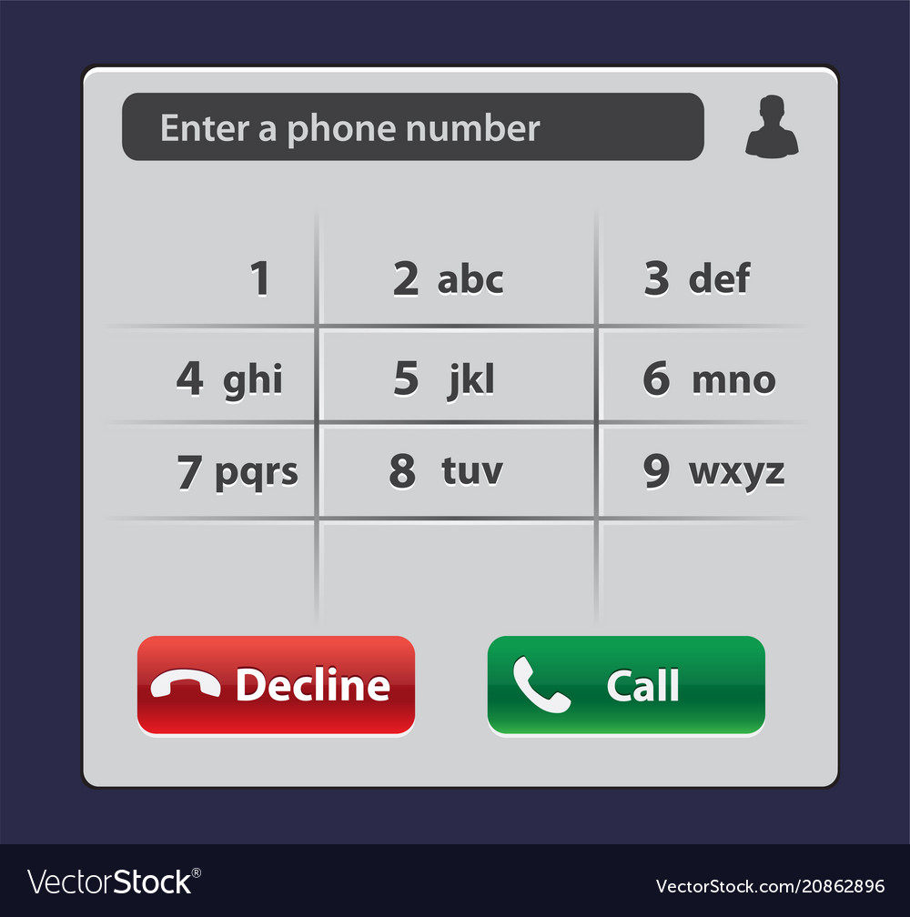 Keypad with numbers and letters for phone user