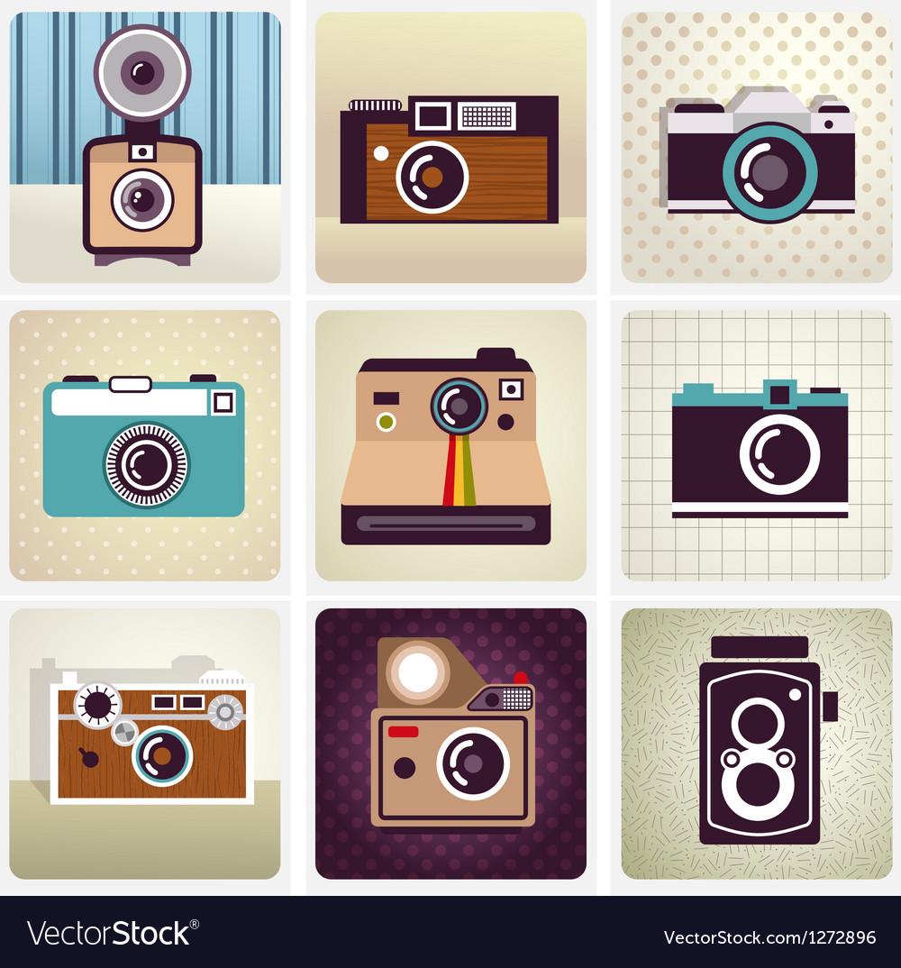 Old vintage camera set vector image