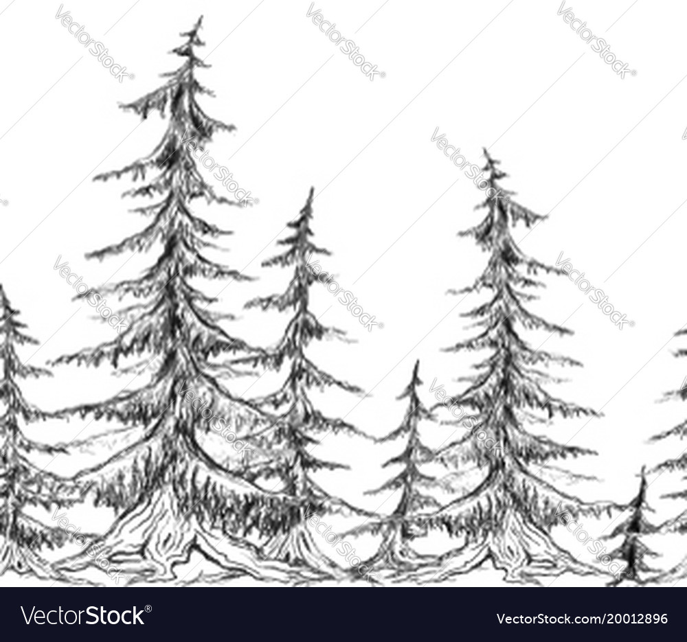 Seamless border with pencil sketch trees element