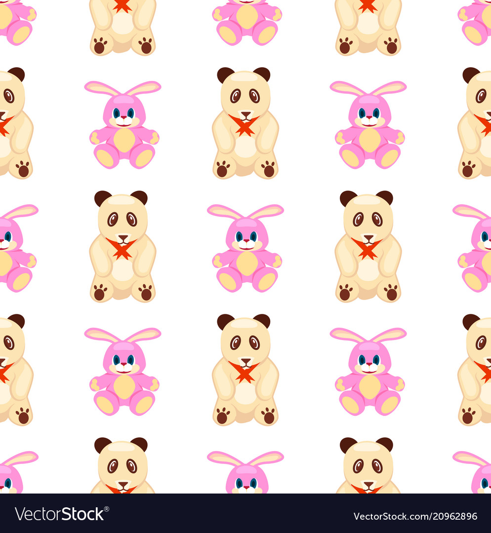Seamless pattern with rabbit and teddy bear