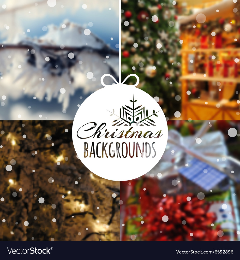 Christmas Backgrounds.Set Of Blurred Christmas Backgrounds