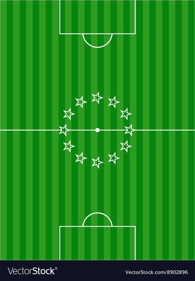 Soccer football pitch and stars background