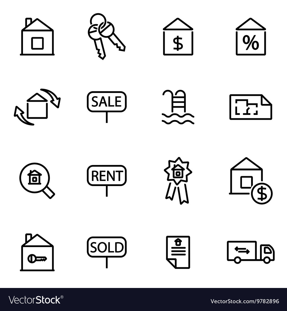 Thin line icons - real