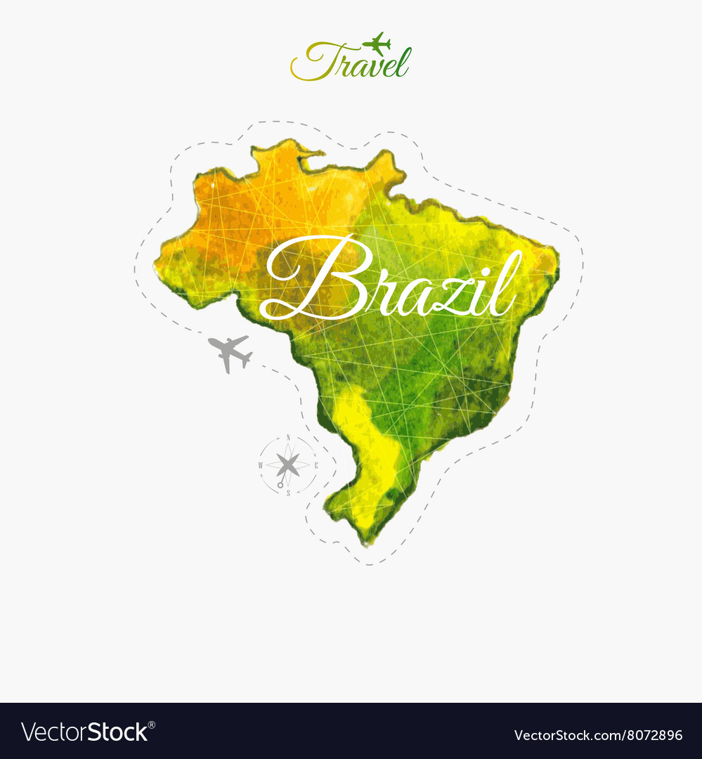 Travel around the world Brazil Watercolor map