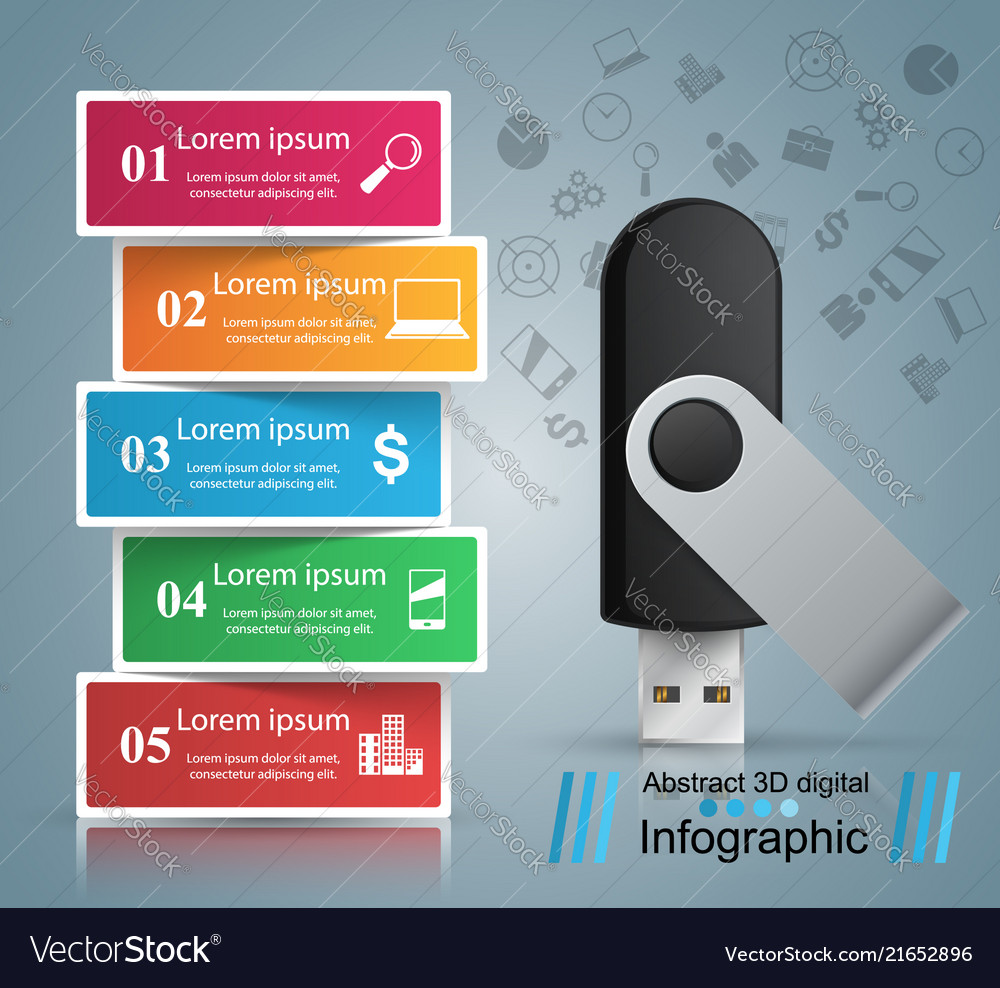 Usb flash icon business infographic