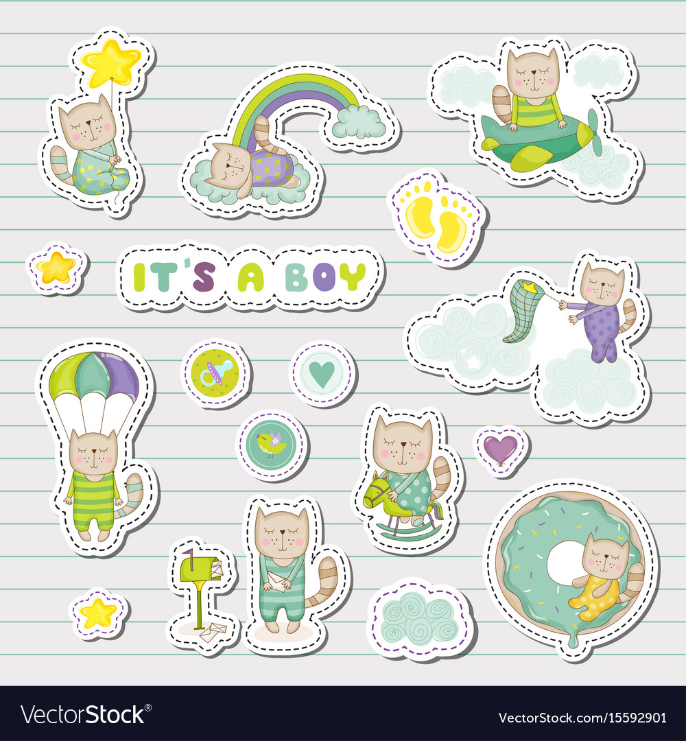 Baby boy stickers patches for baby shower party