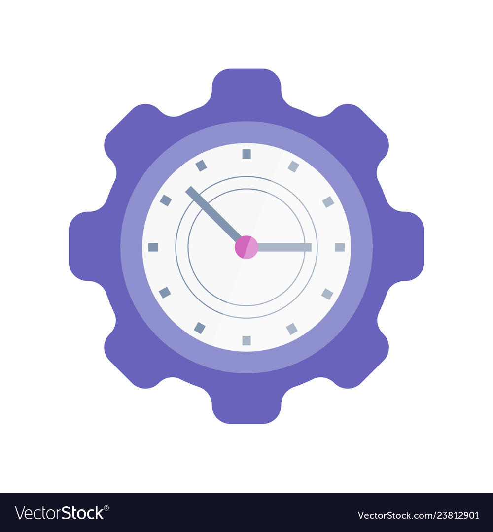 Clock in shape of cogwheel icon time management