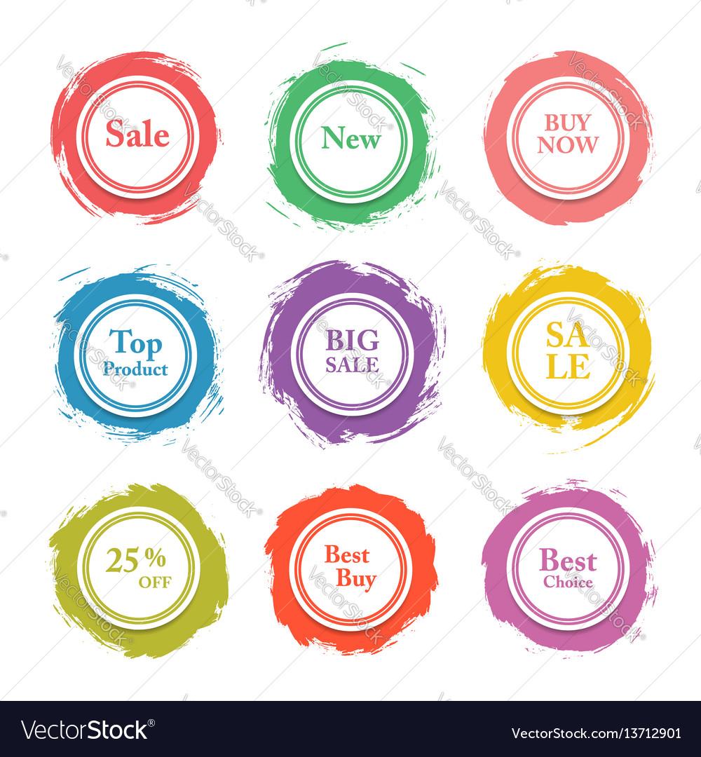 Colorful paper circle sticker label bann
