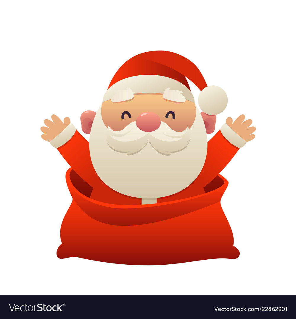 Cute Cartoon Santa Claus In Bag Merry Christmas Vector Image A simple, easy step by step guide to draw santa claus (otherwise known as father christmas, st nicholas, etc. vectorstock