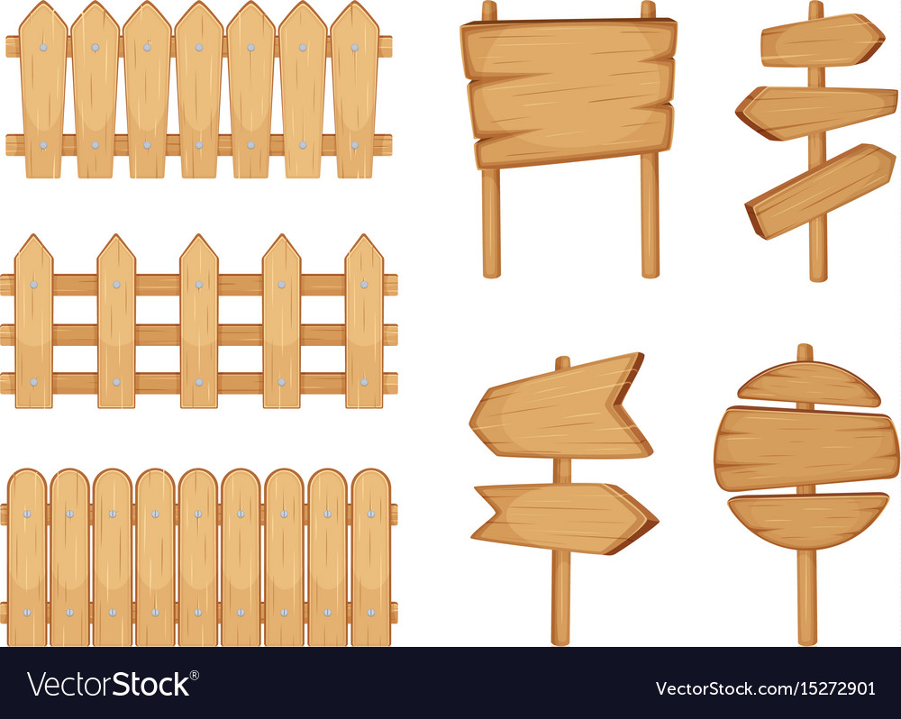 Fences of garden and signs with wood texture