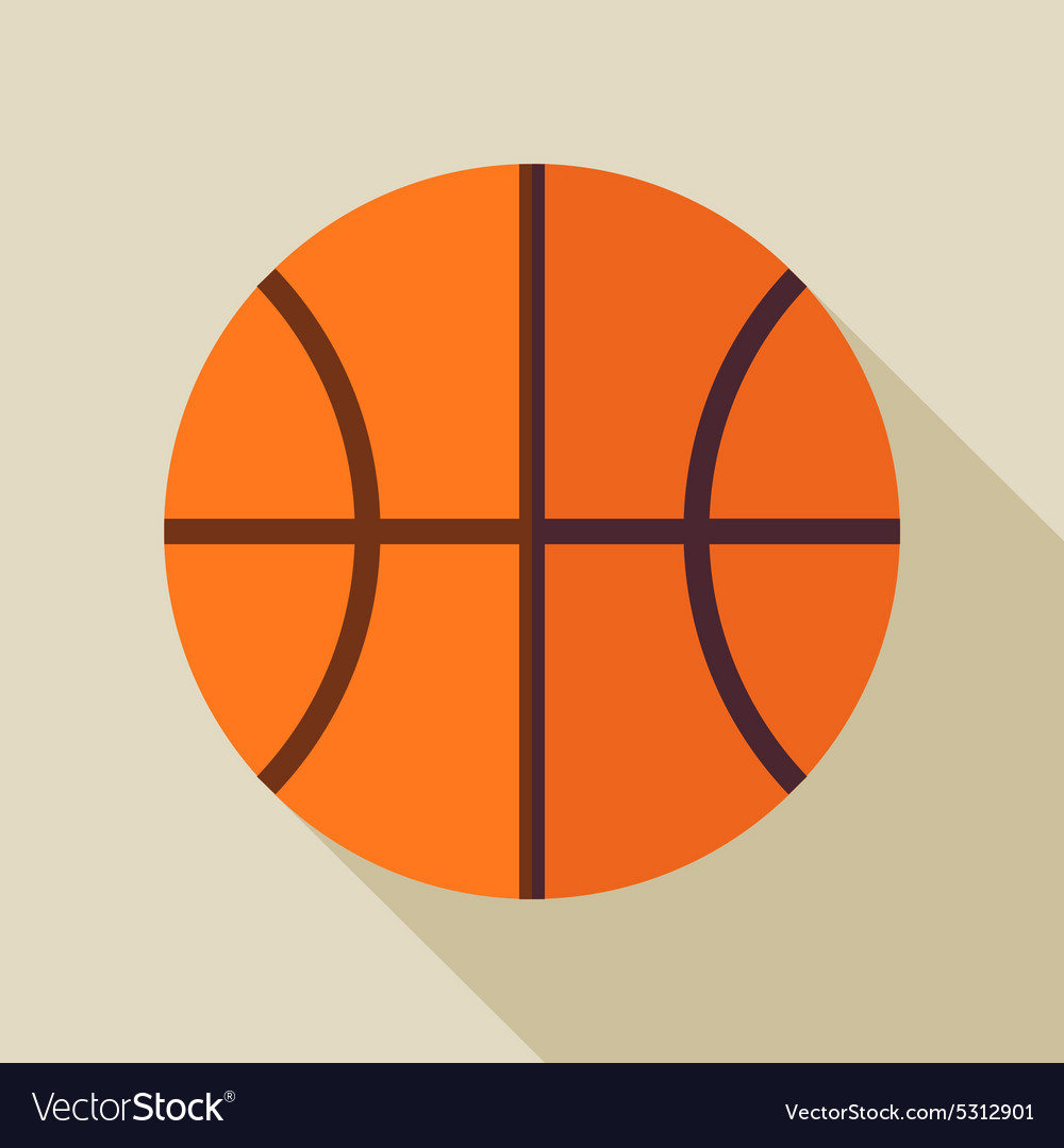 Flat Sports Ball Basketball with Long Shadow vector image