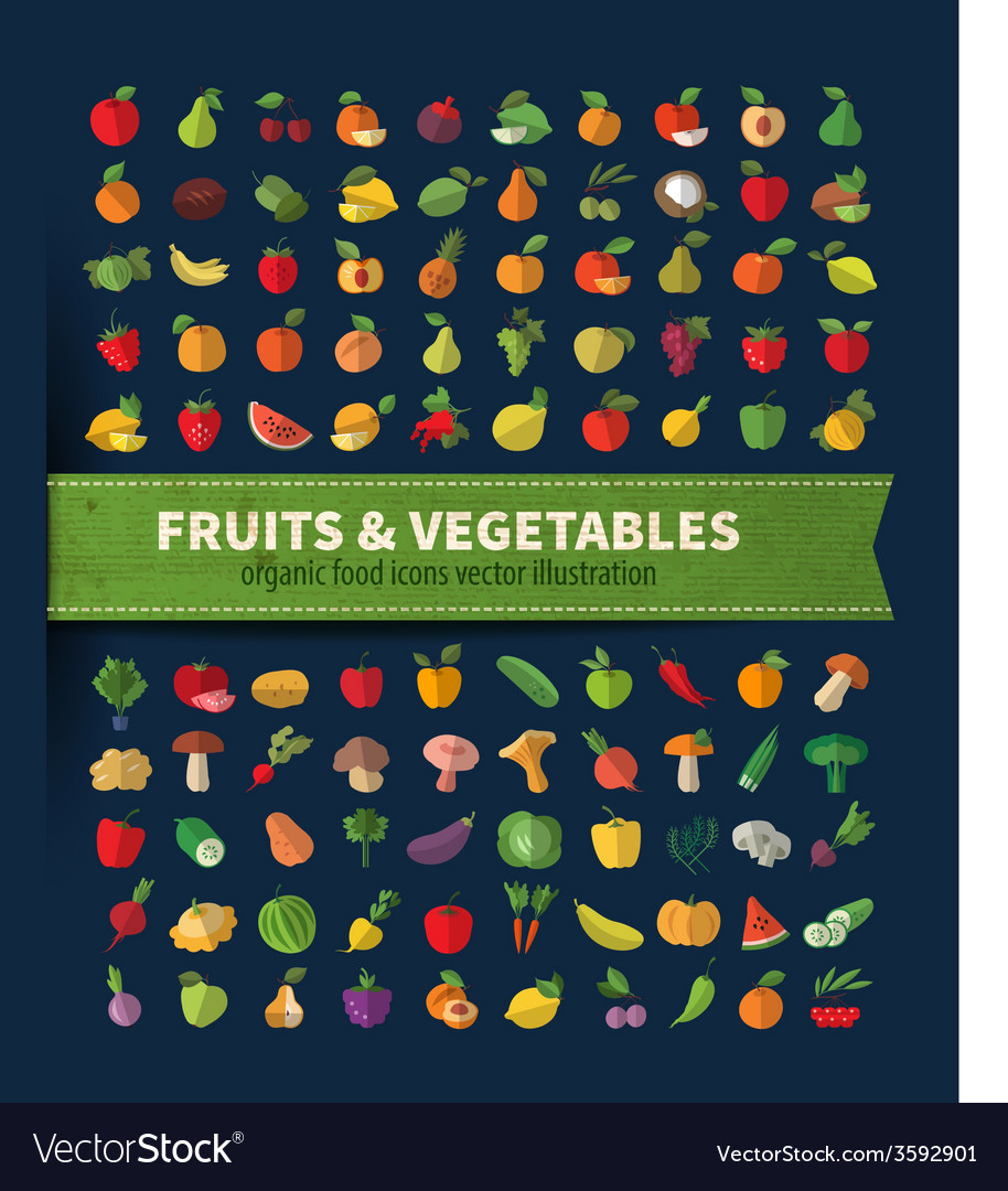 Fruit and vegetables Set of icons Fresh food vector image