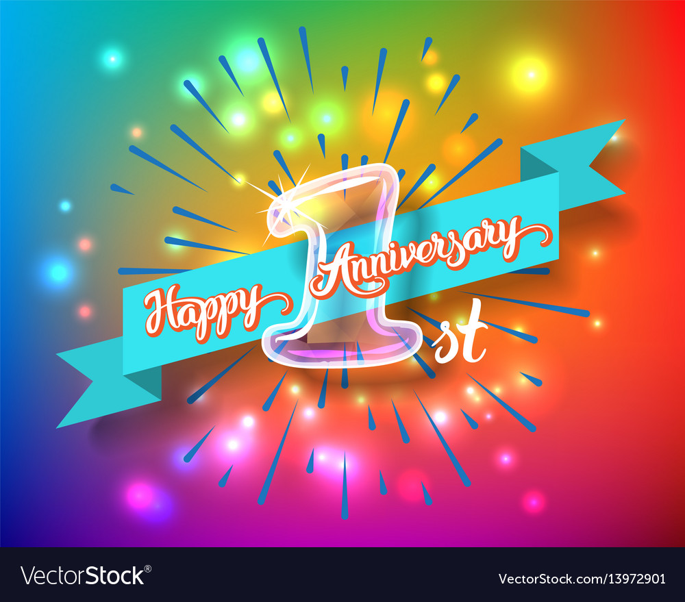 Happy 1st Anniversary Glass Bulb Numbers Set Vector Image