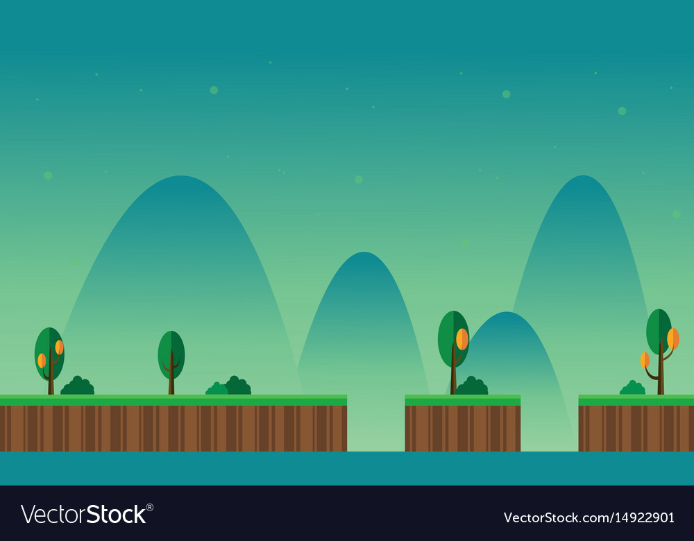 Landscape Mountain Cartoon For Game Background Vector Image