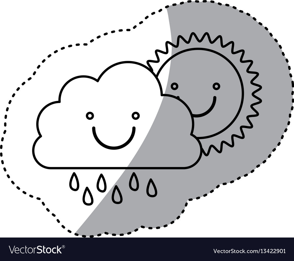 Monochrome contour sticker of smiling cloud with