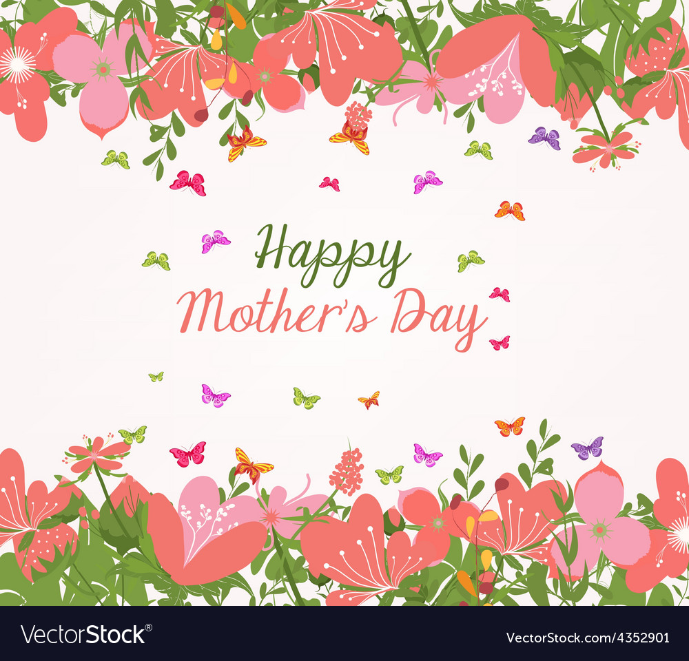 Mothers day flower frame Royalty Free Vector Image