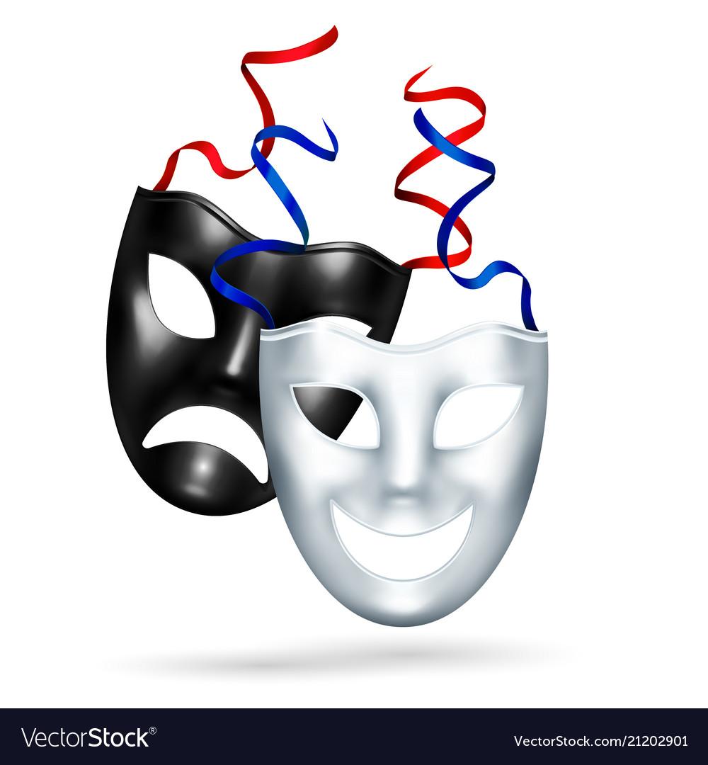 Realistic comedy tragedy masks