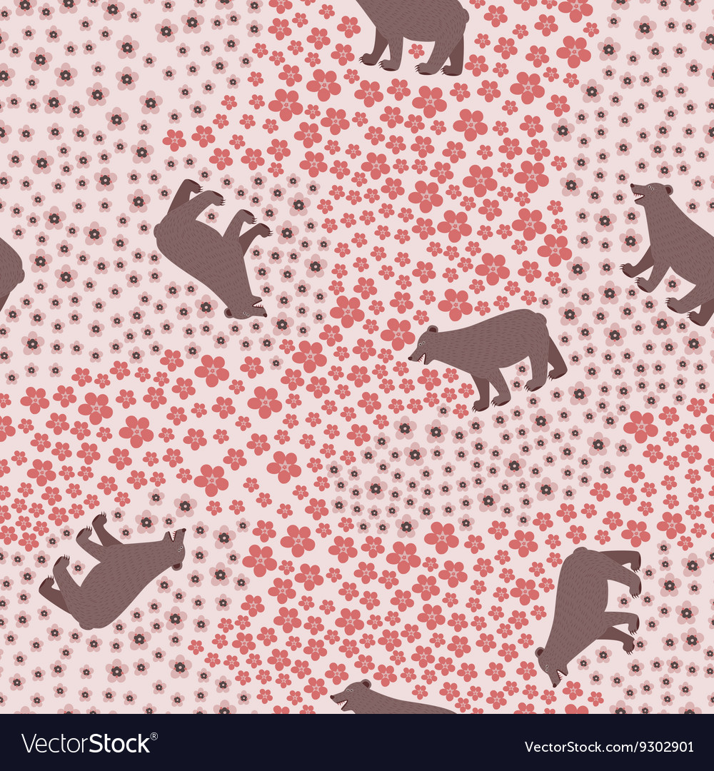 Seamless pattern with big funny bear in the meadow