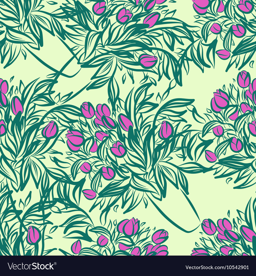 Seamless wallpaper pattern with tulips in vase vector image