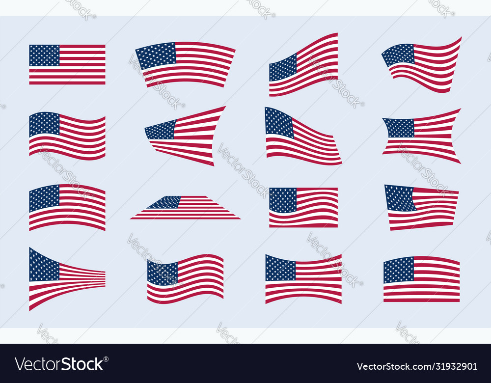 Set different american flags in different