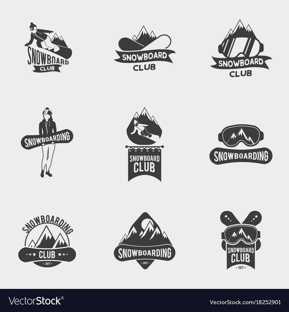 Set of snowboard club logos labels or badges