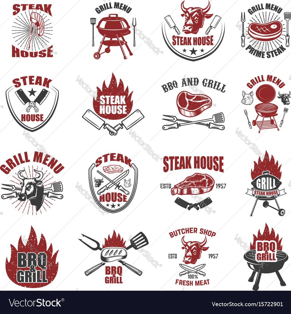 Set of steak house labels bbq butcher tools bull vector image