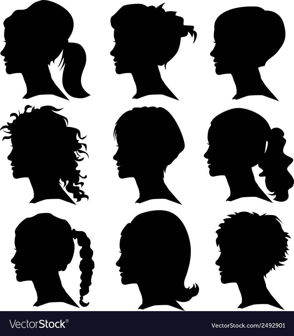 Set of woman silhouette with hair styling