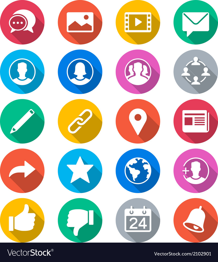 Social network flat color icons