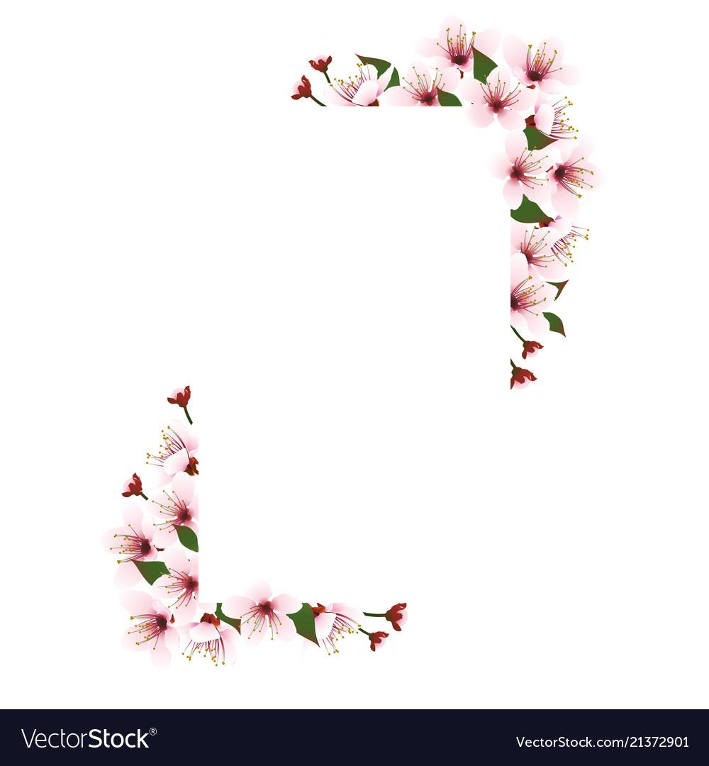 Square frame with cherry blossom