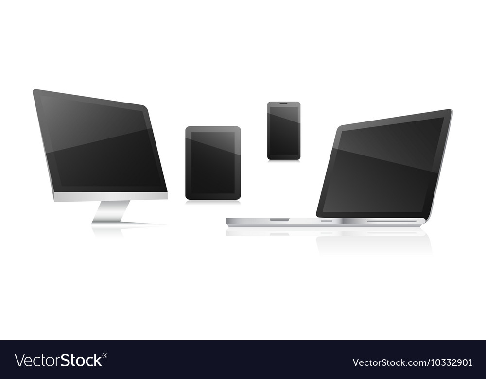 Technological communication devices on a white vector image