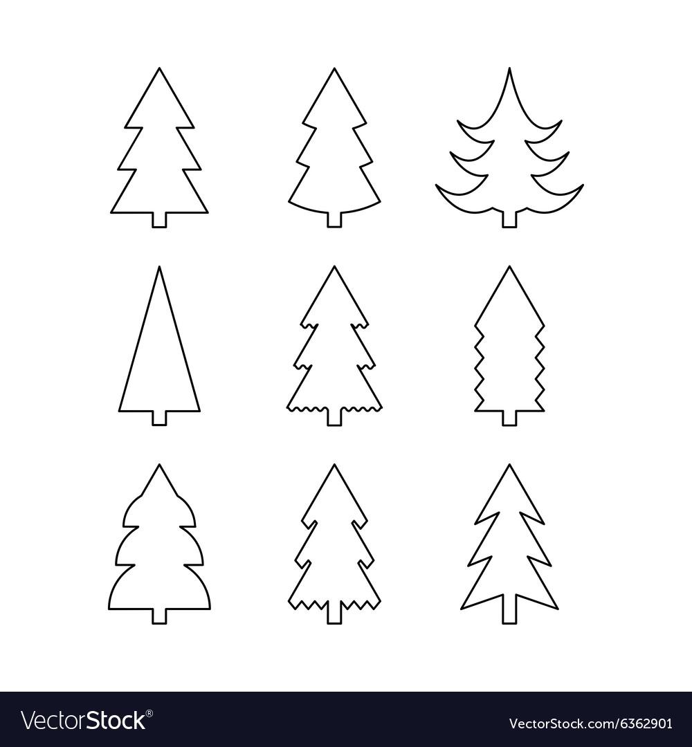 Christmas Tree Icons.Thin Line Icon Set Of Christmas Trees