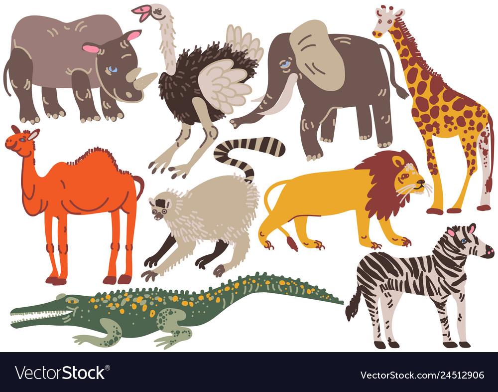 African animals set rhinoceros ostrich elephant