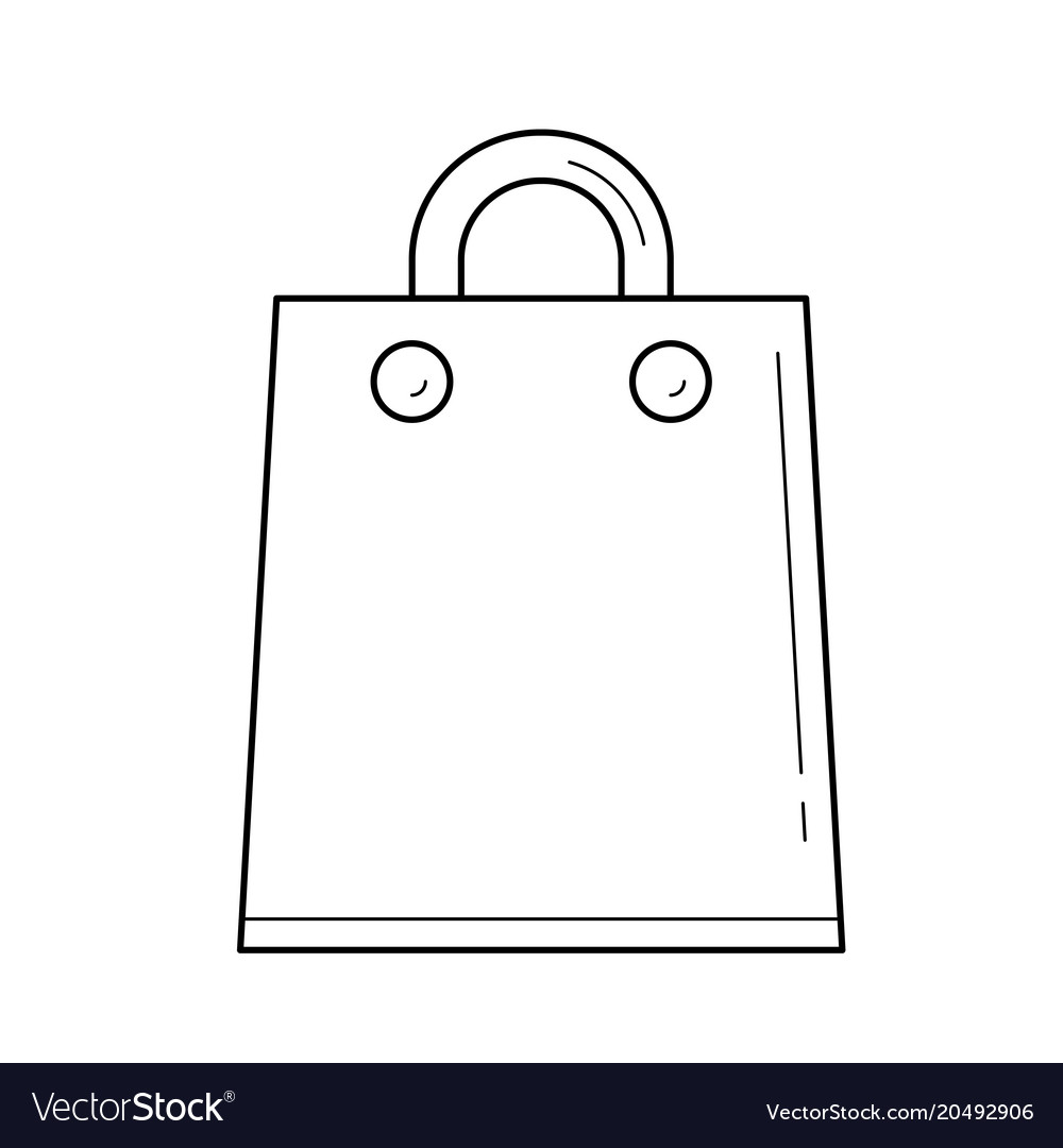 Bag for shopping in mall line icon