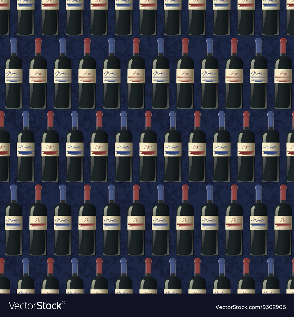 Bottles of red and white wine on dark blue
