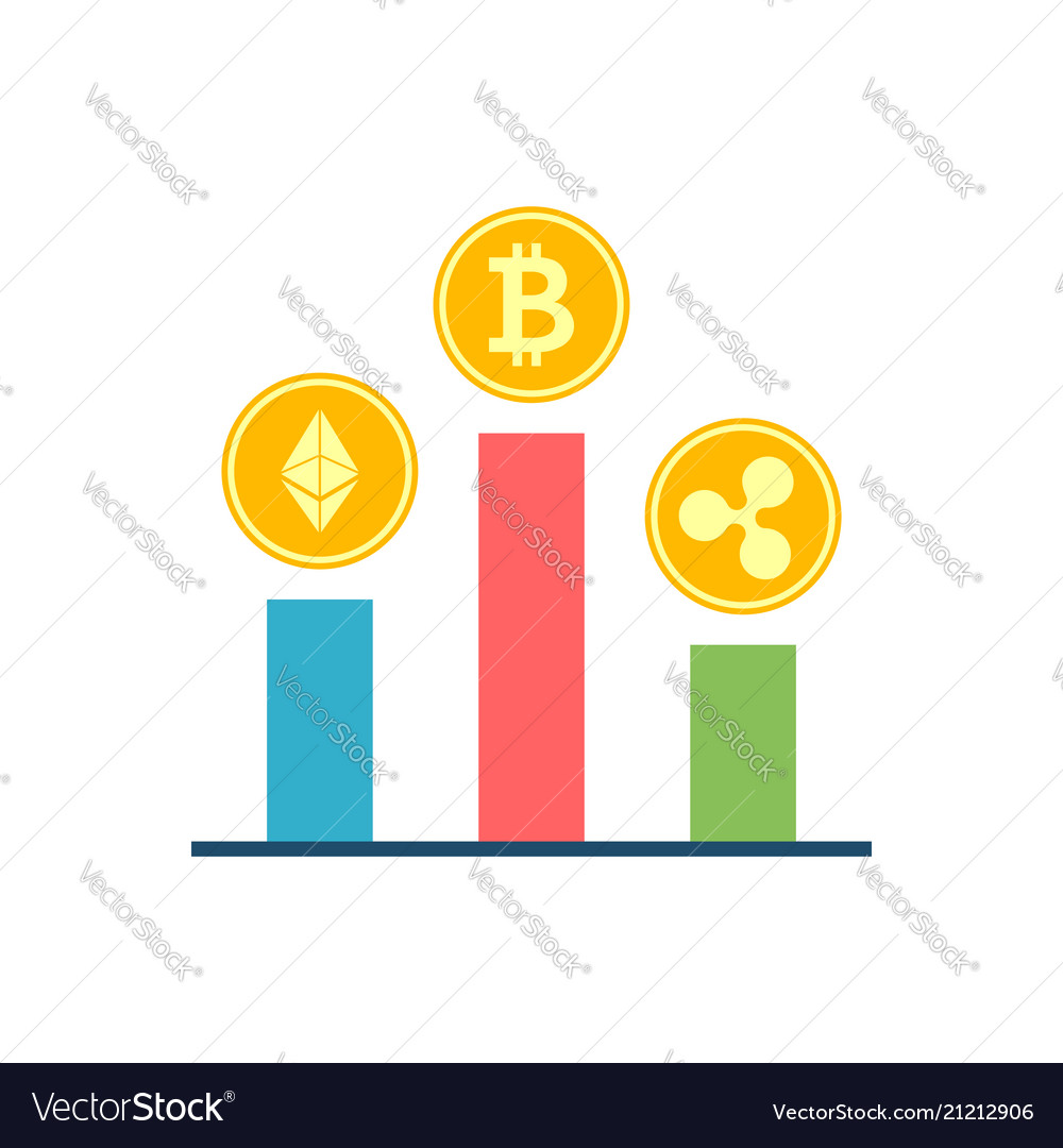 Crypto currency stock flat related icon