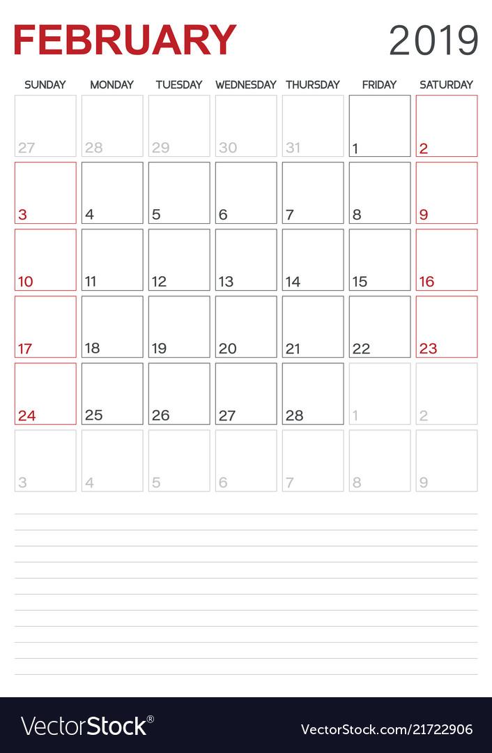 Free February 2019 Calendar Vector English calendar   february 2019 Royalty Free Vector Image