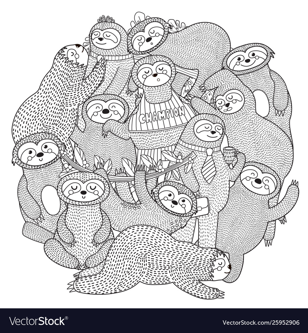 Funny sloths circle shape pattern for coloring