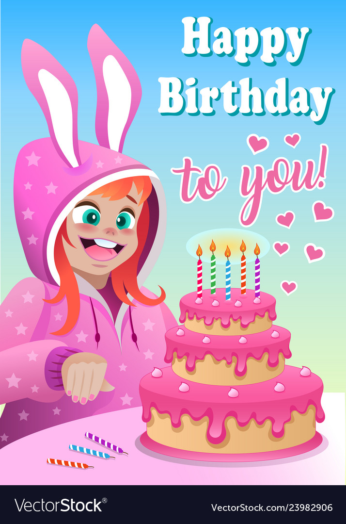Fine Greeting Card With Girl In Bunny Suit And Cake Vector Image Funny Birthday Cards Online Elaedamsfinfo