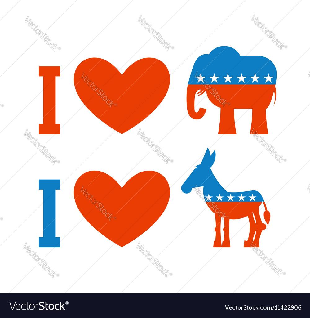 I love democrat I like Republican Symbol of heart