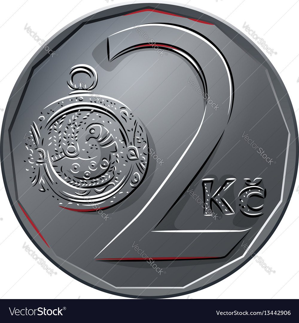 Money two czech crones coin reverse vector image