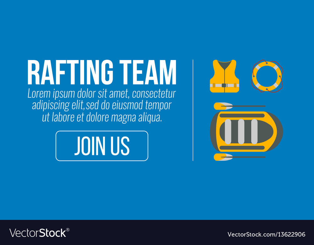 Rafting banner tourism equipment and web elements vector image