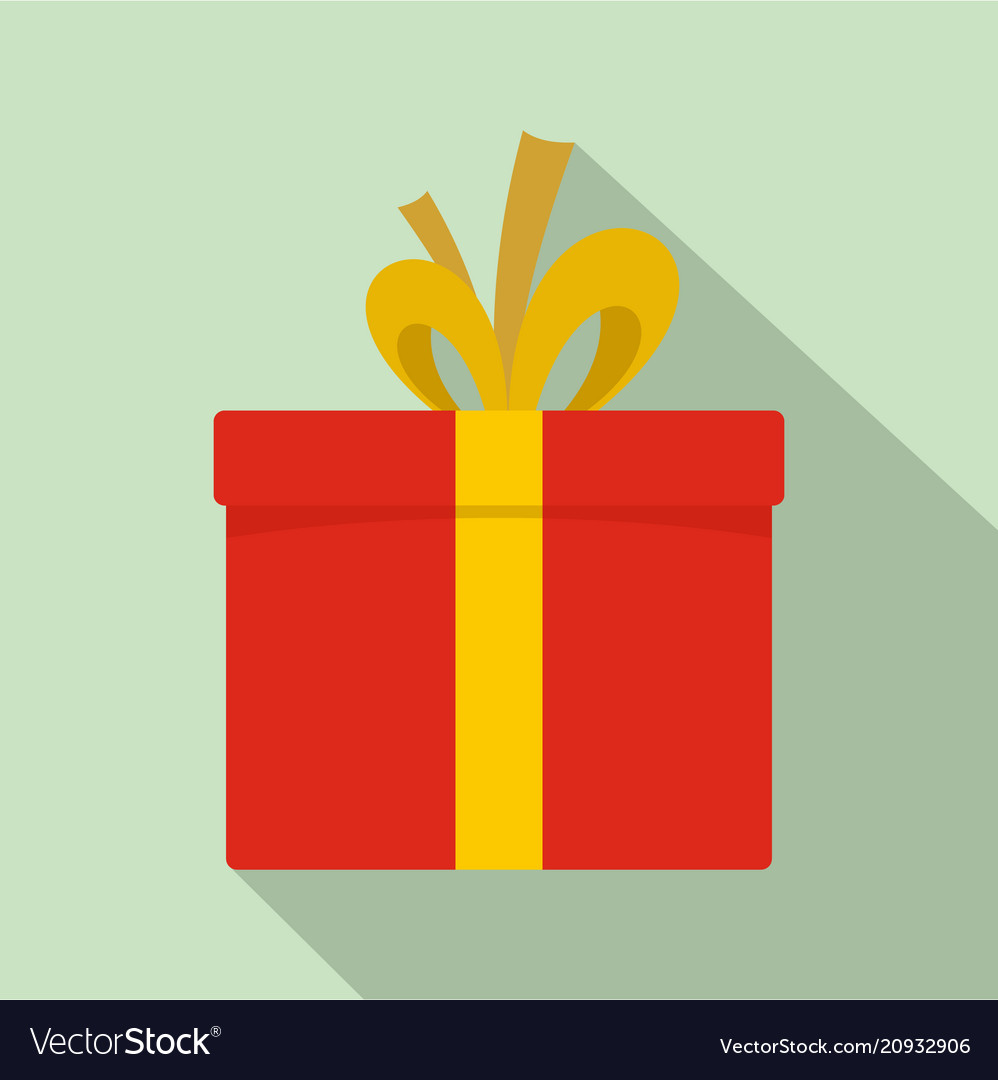 Red giftbox icon flat style