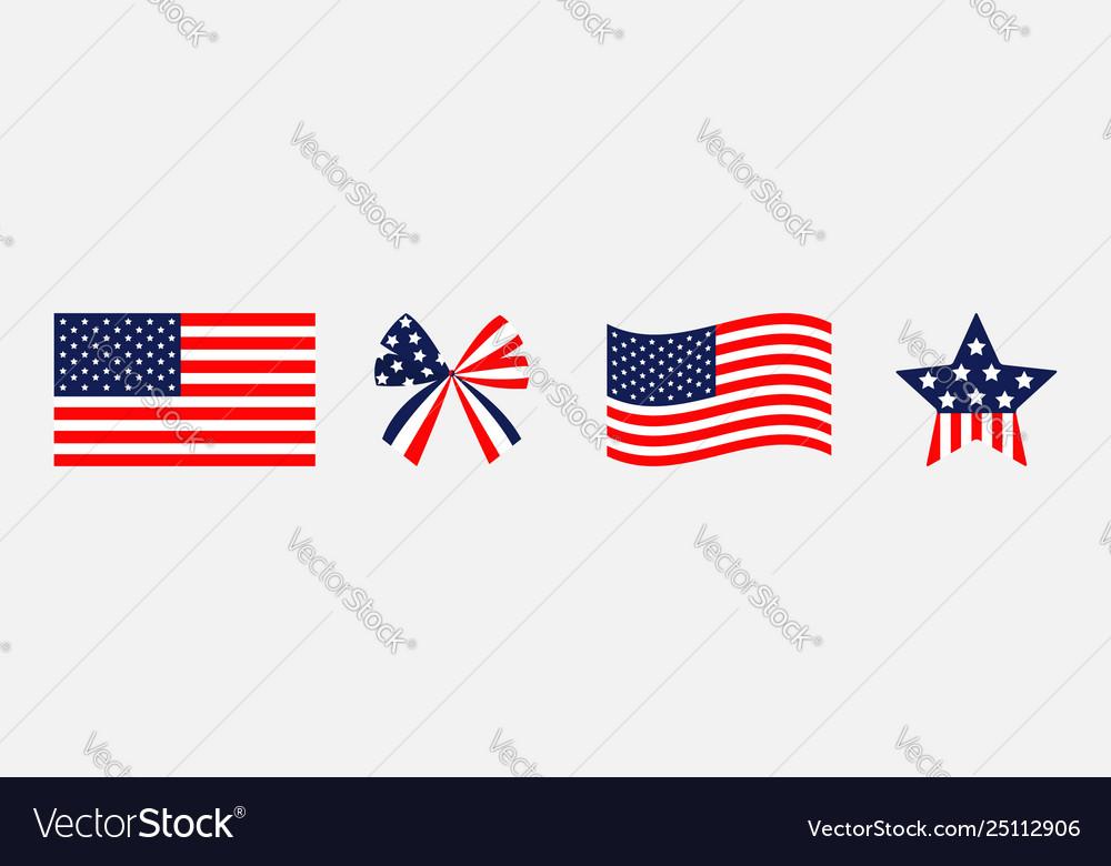 Ribbon bow star shape american flag wave icon set
