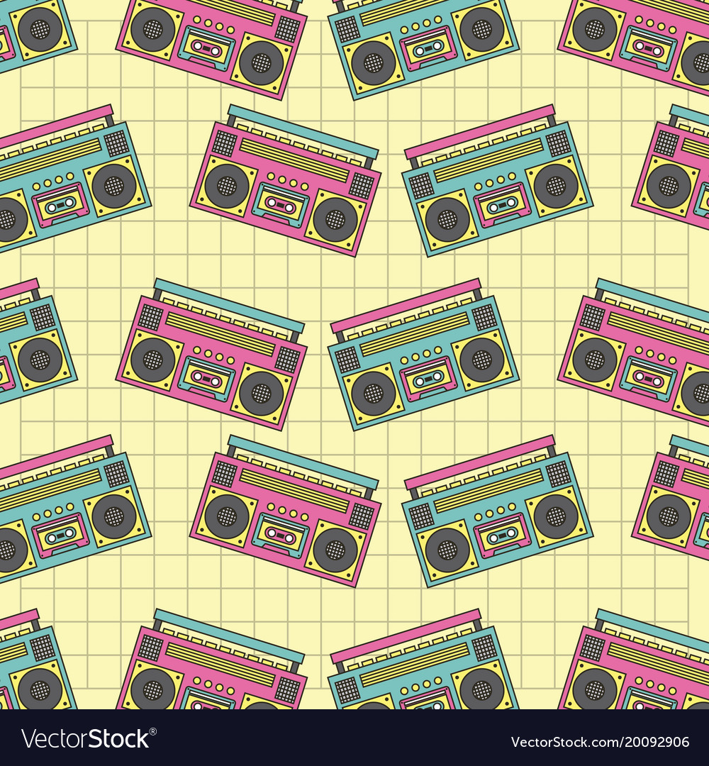 Seamless pattern tape recorder 90s device music