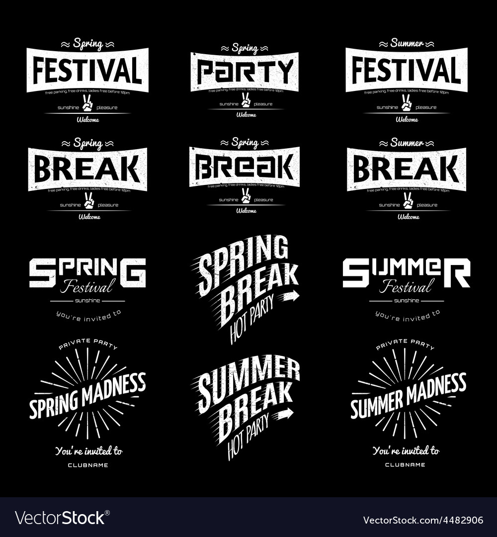 Summer holiday party festival logos badges