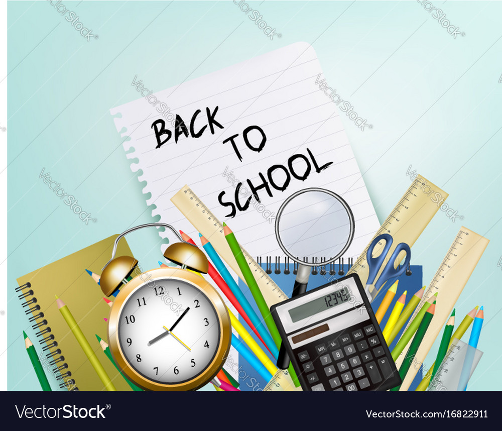 Back to school background with supplies and sheet